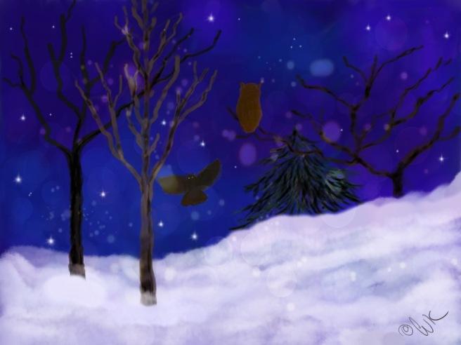 owls, chris kapsa painting, tao